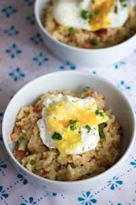 Breakfast Risotto with Bacon and Poached Egg