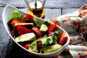 Avocado and Strawberry Salad with Honey Vinaigrette